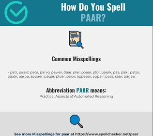 Correct spelling for PAAR