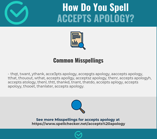 Correct spelling for accepts apology