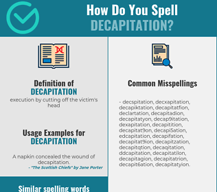 Correct spelling for decapitation