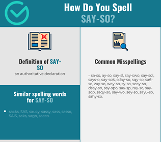 Correct spelling for say-so