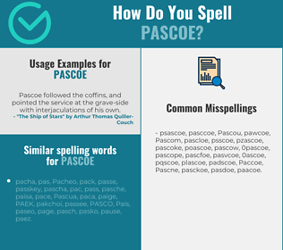 Correct spelling for Pascoe