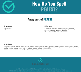 Correct spelling for peaest