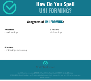 Correct spelling for uni forming