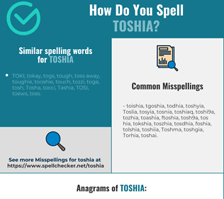 Correct spelling for Toshia