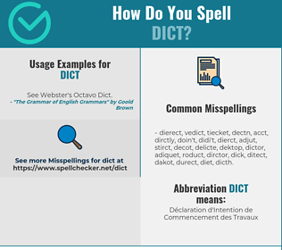 Correct spelling for DICT