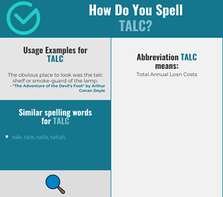 Correct spelling for talc