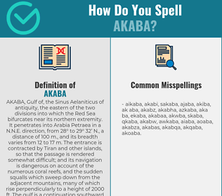 Correct spelling for akaba