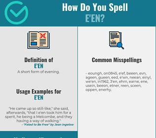 Correct spelling for e'en