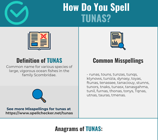 Correct spelling for Tunas