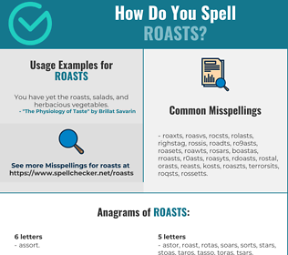 Correct spelling for roasts