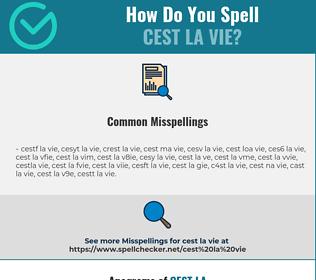 Correct spelling for cest la vie