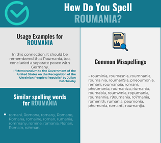 Correct spelling for roumania