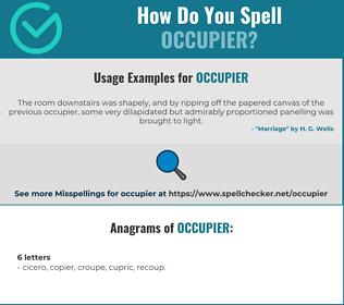 Correct spelling for occupier