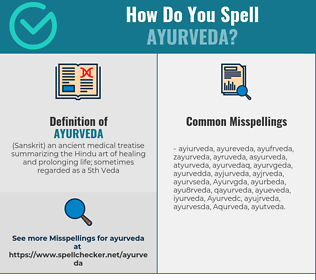Correct spelling for Ayurveda