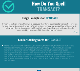 Correct spelling for transact