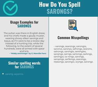 Correct spelling for sarongs