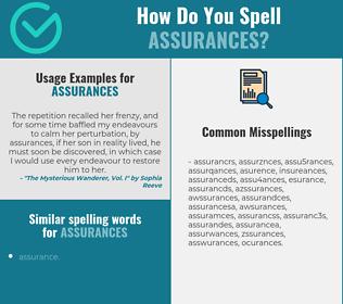 Correct spelling for assurances