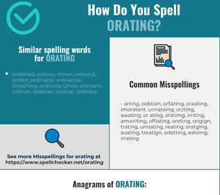 Correct spelling for orating