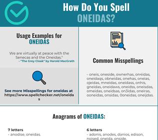 Correct spelling for Oneidas
