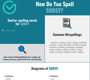 Correct spelling for sudsy