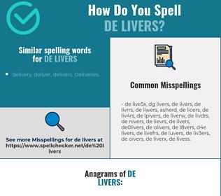 Correct spelling for de livers