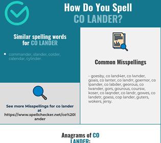 Correct spelling for co lander