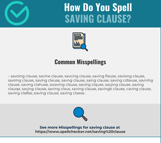 Correct spelling for saving clause