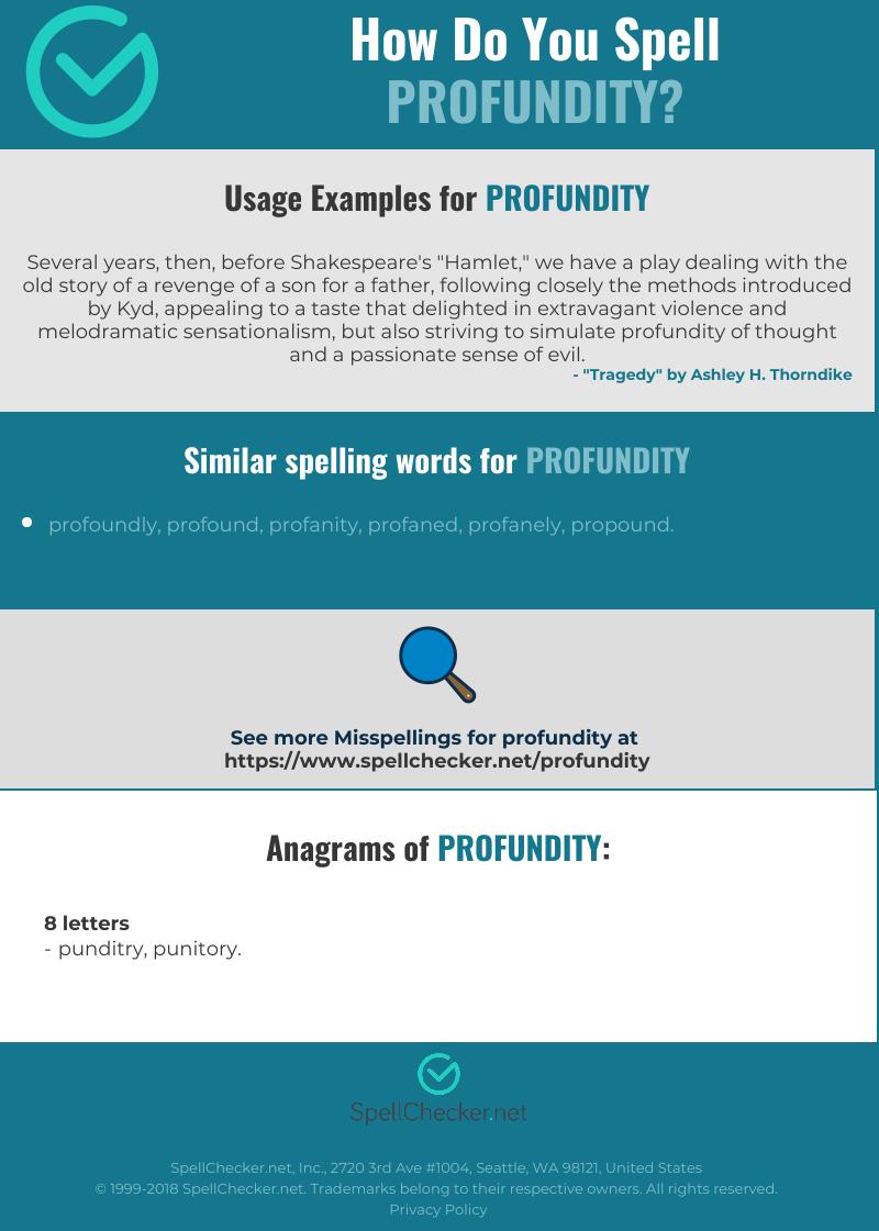 Correct spelling for profundity [Infographic] | Spellchecker net
