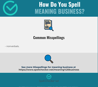 Correct spelling for meaning business