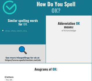 Correct spelling for ok