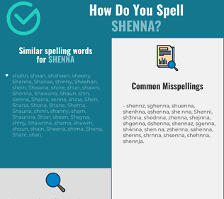 Correct spelling for Shenna