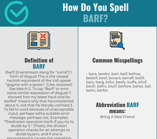 Correct spelling for barf