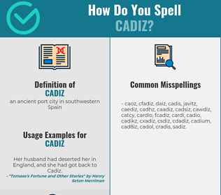 Correct spelling for cadiz