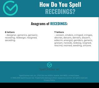 Correct spelling for recedings