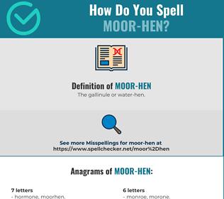 Correct spelling for Moor-hen