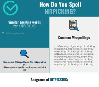 Correct spelling for nitpicking