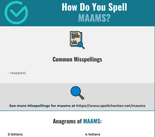 Correct spelling for maams
