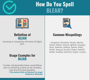 Correct spelling for blear