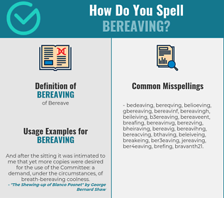 Correct spelling for bereaving