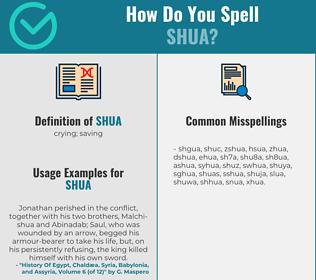 Correct spelling for shua