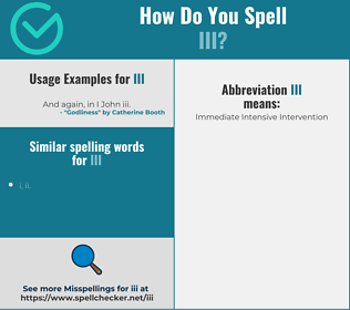 Correct spelling for iii