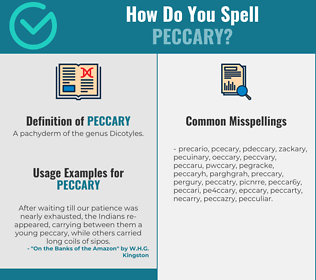 Correct spelling for peccary