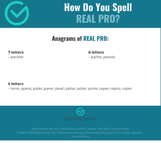Correct spelling for real pro