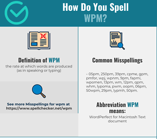 Correct spelling for wpm
