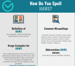 Correct spelling for Haws