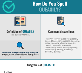 Correct spelling for queasily