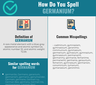 Correct spelling for germanium