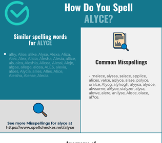 Correct spelling for Alyce