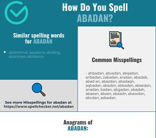 Correct spelling for abadan