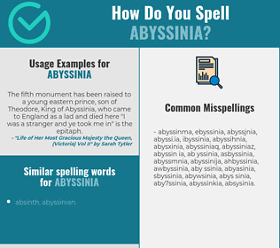 Correct spelling for abyssinia